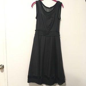 Louis Vuitton Black Silk Velvet Bead Pleated Dress